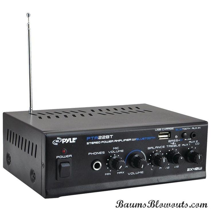 Pyle Pro 40-watt X 2 Mini Blue Series Bluetooth Stereo Power Amp