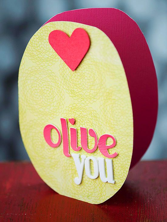 We love this Olive You Valentine's Day Card! See more cards you can make: http://www.bhg.com/holidays/valentines-day/cards/handmade-valentines-cards/