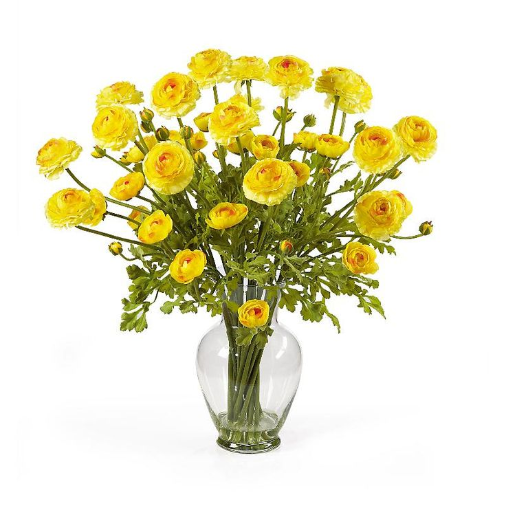 13 best silk flowers in glass vase images on pinterest silk fabulous floral showing from this ranunculus yellow silk flower arrangement in glass vase and acrylic water mightylinksfo Images