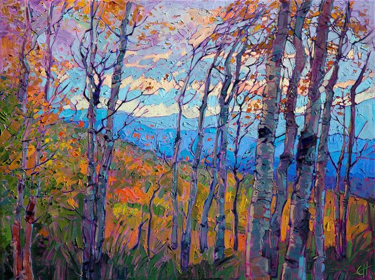 Utah aspens in vivid color by modern oil painter and impressionist Erin Hanson