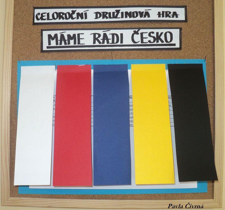 Máme rádi Česko - týmy dle barev na Velkém státním znaku (pod barevnými pruhy - tabulka s měsíčním hodnocením  bodování úkolů)