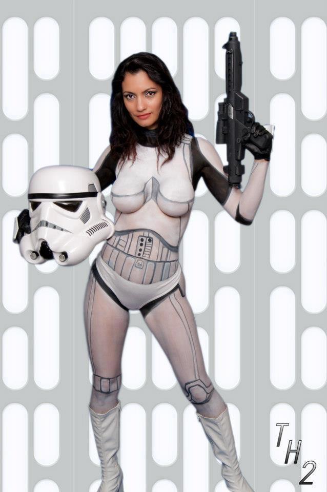 Stormtrooper Girl Body Paint Cosplay  Cosplays -5369