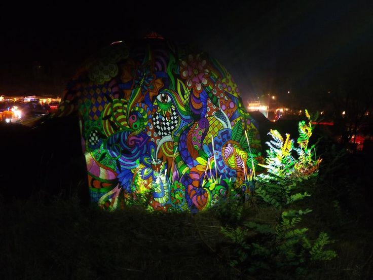 Ozora festival 2013 Dom projection    #ozora #ozorafestival #ozorafestival2013 #nightprojection #raypainting #visual