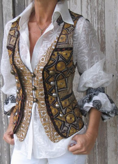Any jacket can be made into a vest. Any vest can be made to fit you. Beautiful fabric and detail, fantastic idea!!