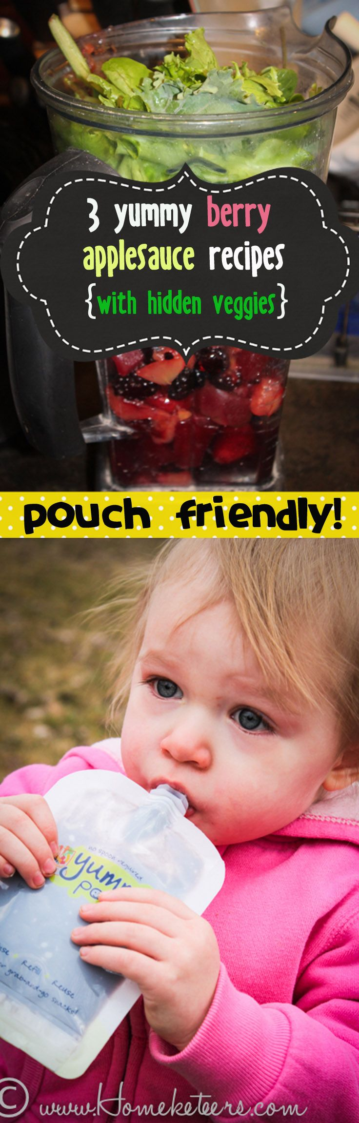 3 Yummy Berry Applesauce Recipes - with Hidden Veggies {Pouch Friendly}