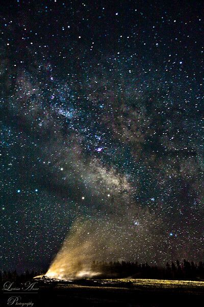 The milky way with Old Faithful in Yellowstone National Park! Amazing sight!