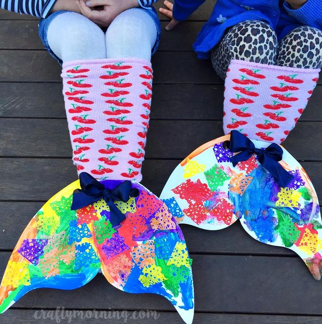 Make cardboard mermaid sock tails with your kids for pretend play! They are so bright and colorful.