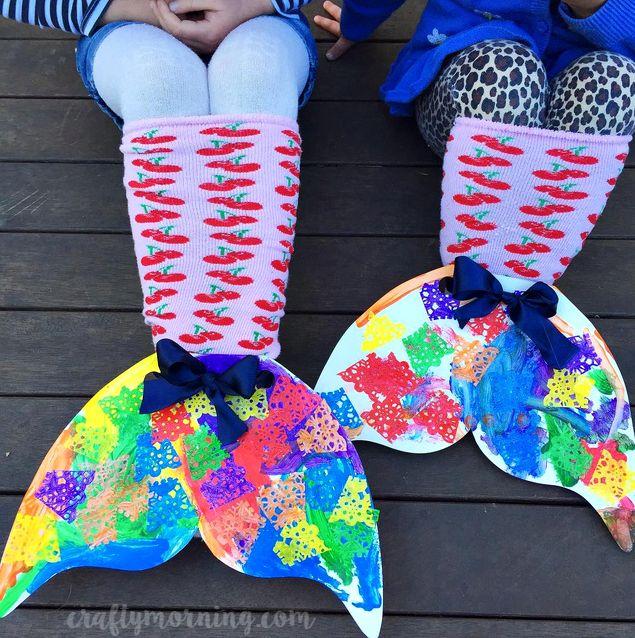 Colorful Cardboard Mermaid Sock Tails (kids craft)