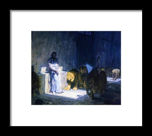 Daniel Framed Print featuring the painting Daniel In The Lions Den 1917 by Tanner Henry Ossawa