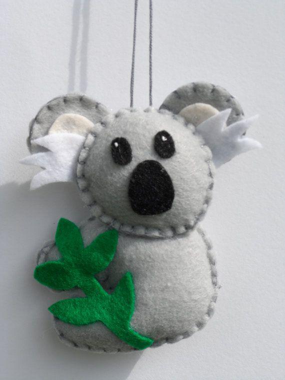 Feutre ornement feutre Koala Bear ornement par FeltLikeIt1 sur Etsy