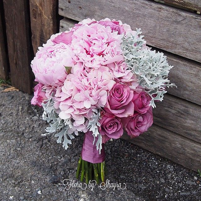 Sweet Pink And Lilac Bouquet With Peonies Roses Hydrangea Dusty Miller