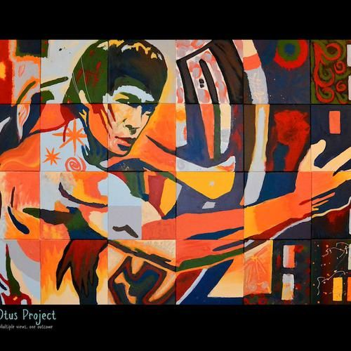 "Fine Art Print by the OTUS Project Multiple Views, One Outcome.  Original Medium: Acrylic on canvas  Titled: Bruce Lee Size: 14"" x 11"" Edition size: 200 Printed with archival inks on Heavy matte paper  This piece was painted in collaboration between artist Randsom Keith and guests at the Local Circle Artist Services studios. The original painting consists of 24 panels painted at different times by different people, none of which were aware of the final image until it was pieced together."
