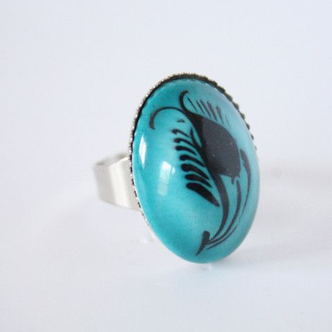 Turquoise Black Tulip Turkish Ceramic Ring