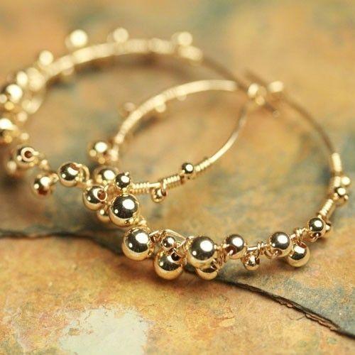 Etsy Seller fussjewelry - Smaller Golden Berries Hoop Earrings