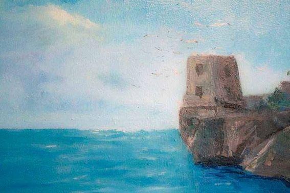 Particolare del Trompe l'oeil che rappresenta una veduta della costiera amalfitana - di Pasquale Scognamiglio - in un appartamento privato di Baiano (Av)
