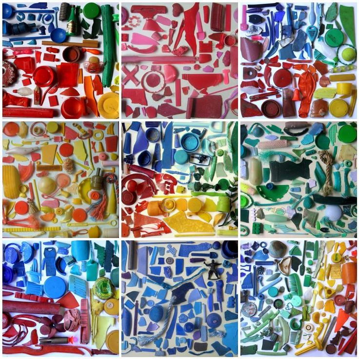 """Rainbows of trash - Boing Boing - Melbourne's Liz Jones scavenges colorful trash from beaches and riverbeds and arranges them by color in these striking collages, which she calls """"Rubbish Rainbows."""""""