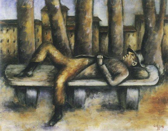 """E' inutile negarlo: la panchina, anche se non è un letto, è fatta anche per dormirci sopra. Un uso suggerito dalle sue stesse caratteristiche formali: una seduta (spesso curva), uno schienale, una lunghezza più o meno uguale all'altezza media di una persona. Insomma, un divano. Dormire, sognare, in compagnia degli alberi, la città sullo sfondo, come nel bel quadro """"Uomo sulla panchina"""" di Ottone Rosai (1938)."""