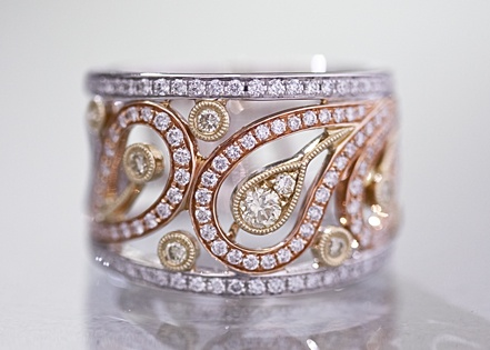 oh paisley, diamonds with white, yellow & rose gold...how I need you