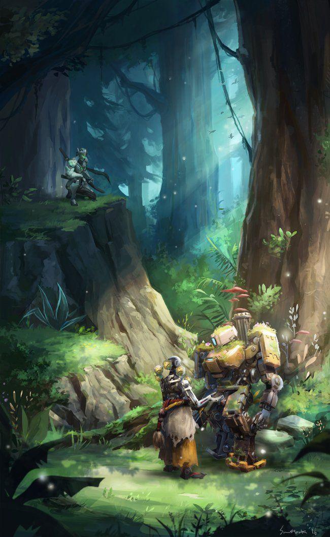 Bastion In A Forest Overwatch Overwatch Wallpapers Overwatch Zenyatta Overwatch Fan Art