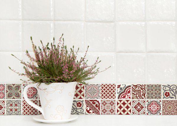 Le carreau ciment en trompe l 39 oeil stickers marie claire and tile - Carreau ciment mural ...