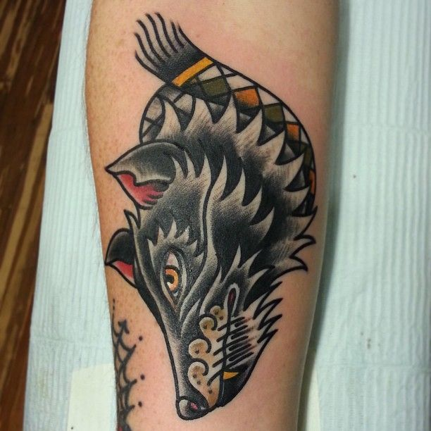 tattoo old school / traditional ink - wolf (by Nick Oaks)