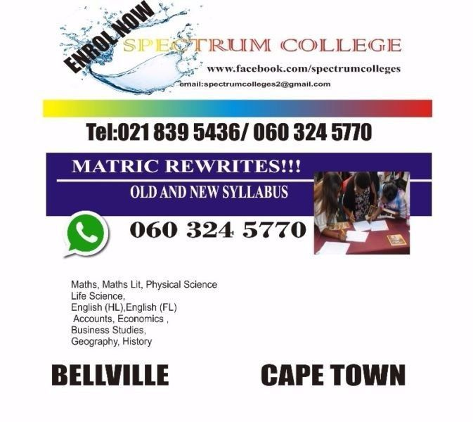 FREE FREE FREE MATHS LESSONS We are offering matric classes for Pure Maths, Chemistry, Physics, Maths Lit, Life Science, Geography, Accounts, Business studies, Economics, English etc registration starts on 2 January 2017 from 0800am to 2pm Monday to Friday Call or WhatsApp to book for a space 027 839 5436 / 060 324 5770Slaney Centre 2nd floor 39 Durban Road Bellville Cape Town