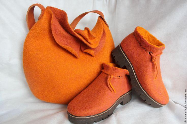Купить Ботинки войлочные Грейпфрут - рыжий, войлочная обувь, войлок ручной работы, валяная обувь