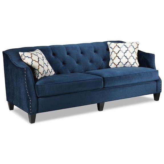 Leon S Living Room Furniture Endicott Sofa Indigo Blue Sofa