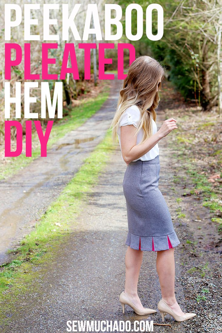 DIY Pleated Hem Tutorial - Add a pop of color to your pencil skirts!