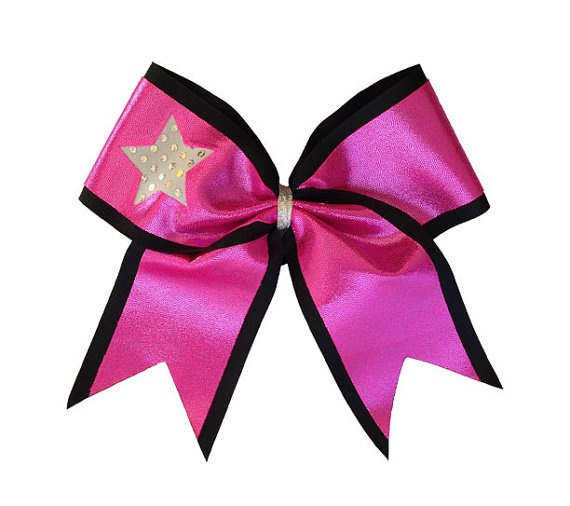 Cheerleading Hair Bow 3 inch Star Cut Out by LuckyGirlCheerBows, $15.00