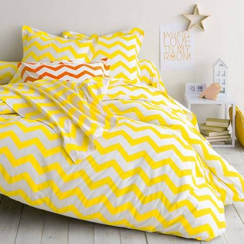 Housse de couette coton imprimé rayures CHEVRON - Blanc / jaune- Vue 1
