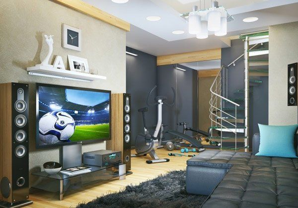 super cool teen boy room ideas modern gray color large TV home fitness corner