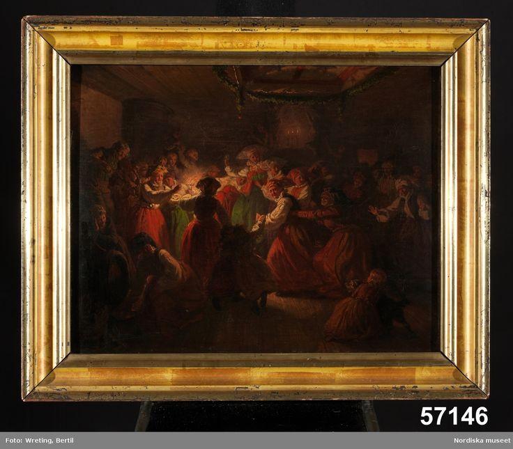 Bröllopsdansande allmoge i interiör. Bruden sjunger Alla flickors skål.  Människa, kvinna, man, barn. Instrument, fiol