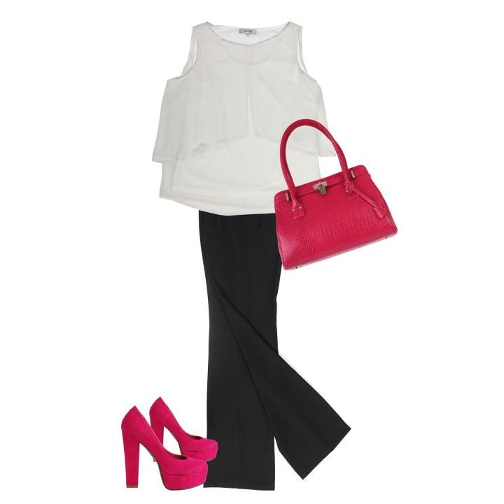 Cotton Bar kadınlarına günün stil önerisi: Kurumsal ve tekdüze ofis stilini renkli ayakkabı ve çantalarla çarpıcı hale getirin.