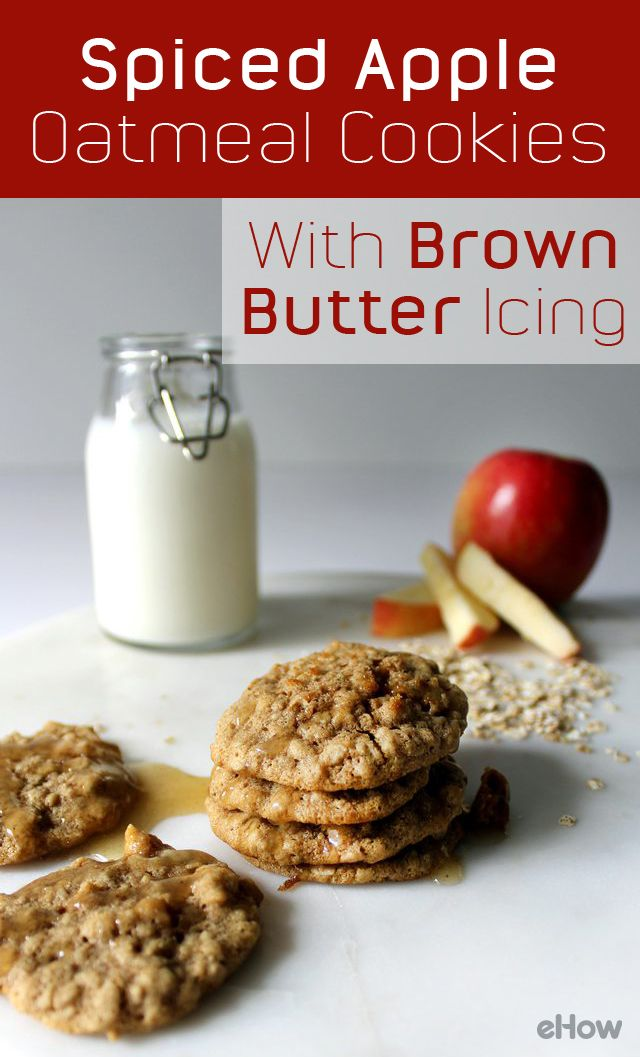Soft, chewy, spiced apple oatmeal cookies with a warm brown butter ...