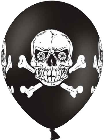 6 enge doodshoofd ballonnen voor de echte stoere feestvierders! Deze gave zwarte ballonnen met witte doodshoofden er op zijn gaaf bij een griezel of halloween feestje maar passen natuurlijk ook goed in het piraten thema! Op iedere ballon staan vier grote doodshoofden.