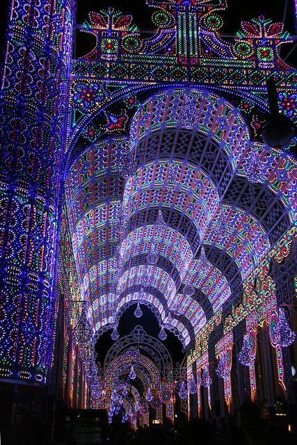 Amazing lit arches from Valencia,Spain festival, Las Fallas