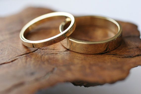 14k yellow gold flat band wedding ring set 2 rings by CommitMe, $460.00