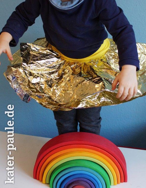 Easy Peasy Glitzerrock DIY aus einer Rettungsdecke   Last Minute Kostüm   Kinderkostüm   Kater Paule näht   Kinder   Fasching   Karneval   Nähen