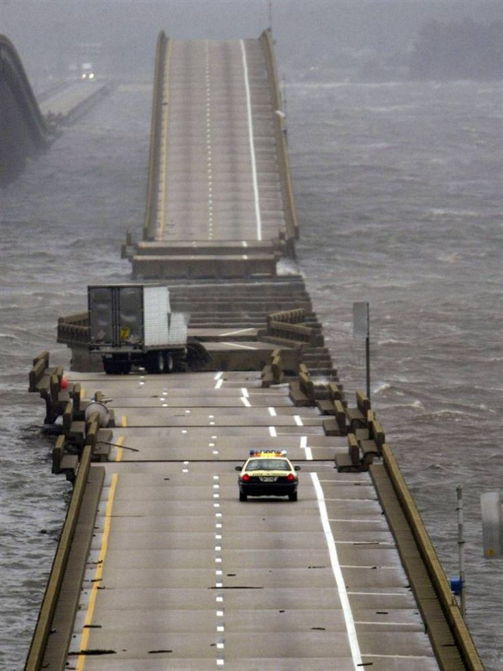 Hurricane Charley Damage Photos | Storm wave, which raised the hurricane Ivan destroyed the bridge to ...