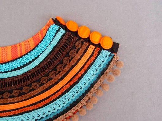 naszyjniki - inne-Czekoladowy naszyjnik z tkaniny