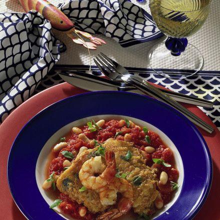Fisch auf Tomaten-Bohnen Rezept | LECKER