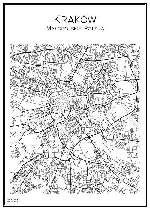 Kraków. Cracow. Poland. Map. City print. Print. Affisch. Tavla. Tryck.