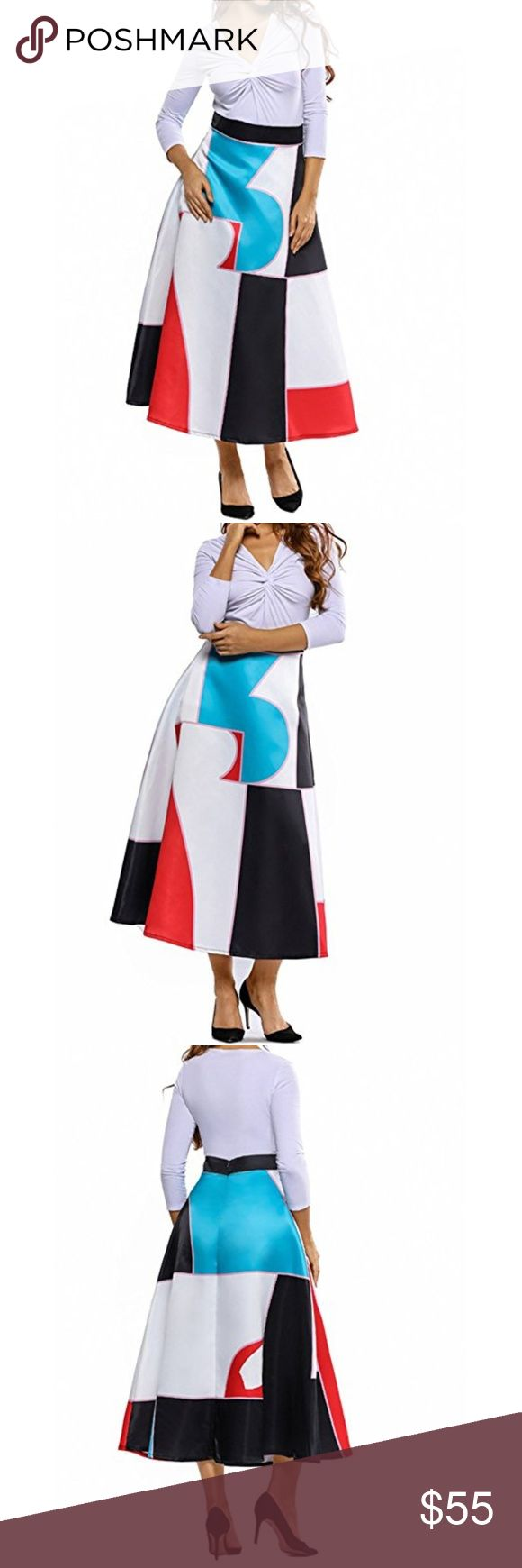 Women's Midi Multi Print Skirt Gorgeous elastic waist band, floral print, and flared Adult skirt cut with an elegant length and stylish African print,pair your skirt with fashion top for a stylish silhouette Xcel Couture Skirts