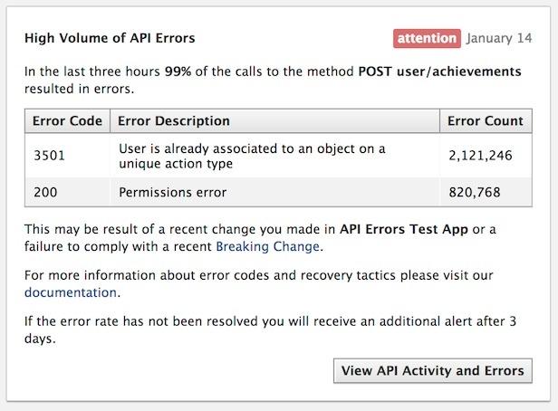 Facebook Gets API Error Notifications