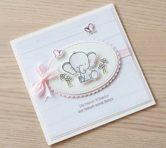 Congratulations card for birth, baby card, card for the birth of a girl, folding card, 13 cm x 13 cm