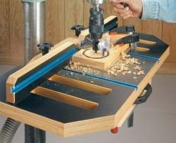 Drill Press Table by ShopNotes -- Homemade drill press table plans including dimensions, bill of materials, and full-size templates. http://www.homemadetools.net/homemade-drill-press-table-36