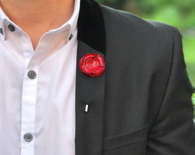 Steel Flower Brooch Prom Rose Pin White Rose Boutonniere White Rose Lapel Pin Wedding Flower Pin Mens Suit Pin Handcrafted Flower Pin