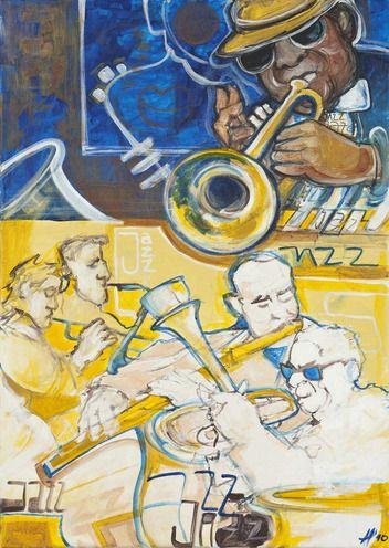 Saša Hudecová, obraz,maľba akrylovými farbami, Jazz cool, 150 €