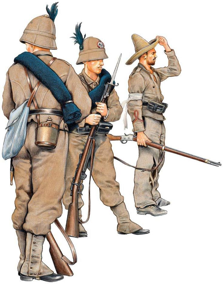 ITALIAN INFANTRY,1895-96 1&2;Private,Cacciatori d'Africa,marching order.3:Corporal,Fanteria d'Africa,marching order.